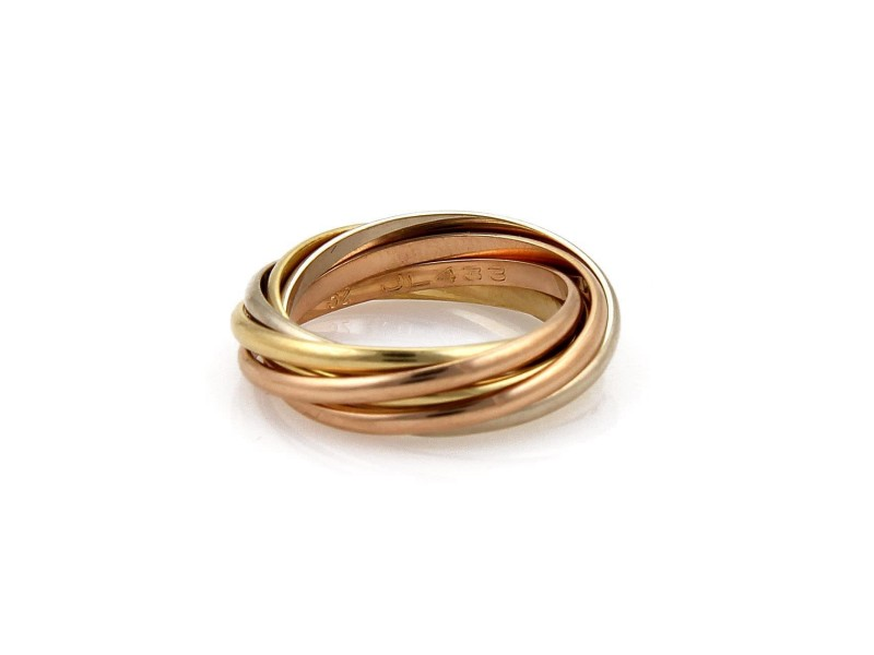 Cartier Trinity 18K Yellow, White and Rose Gold Ring Size 6