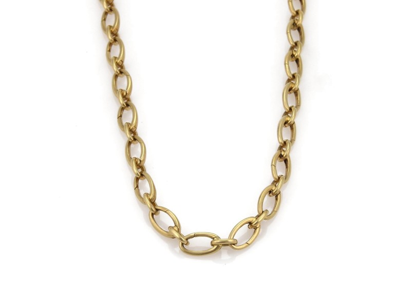 Tiffany & Co. 18K Yellow Gold Oval Clasping Chain Links Necklace