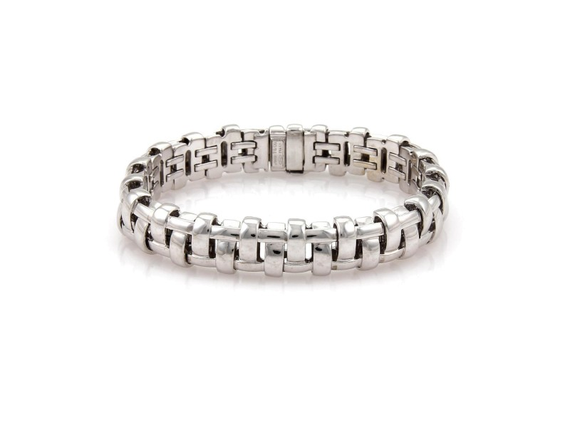Tiffany & Co. 18K White Gold Wide Basket Weave Style Bracelet