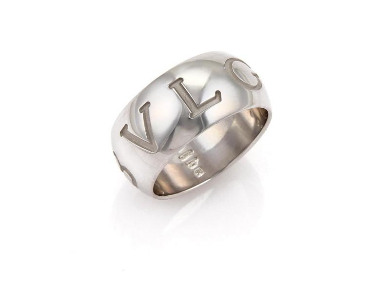 Bulgari 18K White Gold Ring Size 8.5
