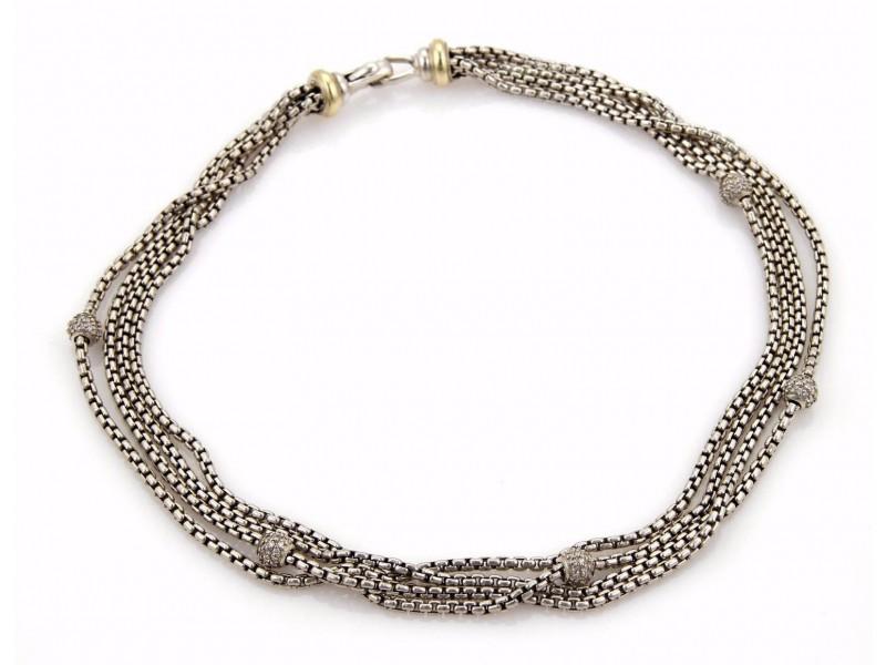 David Yurman 1 Sterling Silver Diamond Necklace