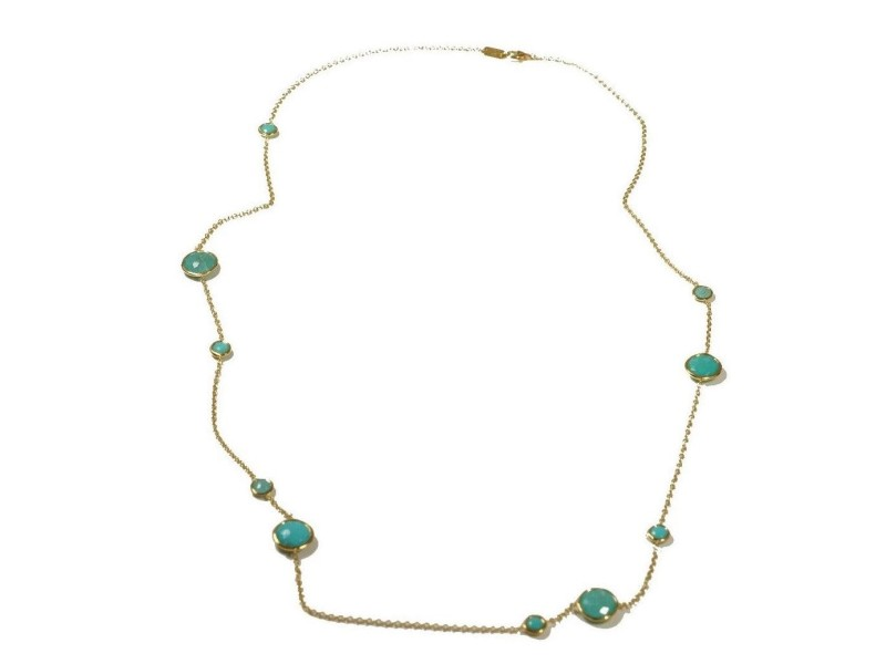 Ippolita 18K Yellow Gold with Turquoise and Rutilated Quartz Station Chain Necklace