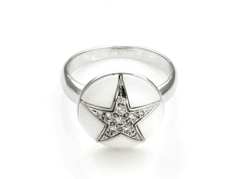 Chanel Diamond White Ceramic 18k White Gold Dome Shape Star Ring