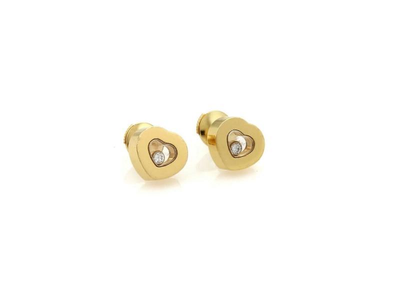Chopard Happy Diamond 18k Yellow Gold Hearts Stud Earrings