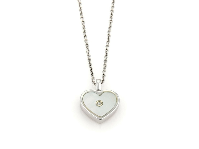 c81cc0df599b Roberto Coin Diamond Mother Of Pearl 18k White Gold Heart Necklace ...