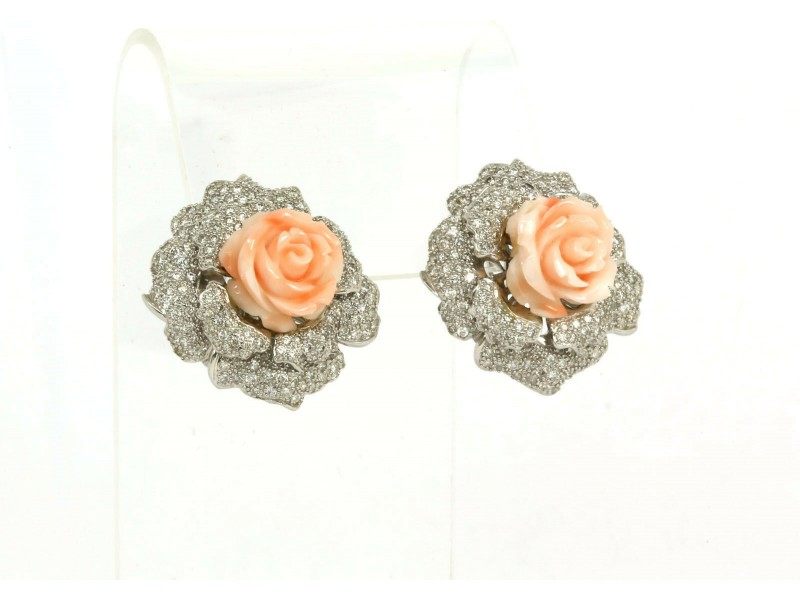 5.39ct Diamonds Hand Carved Coral Rose & Leaf Post Clip Earrings