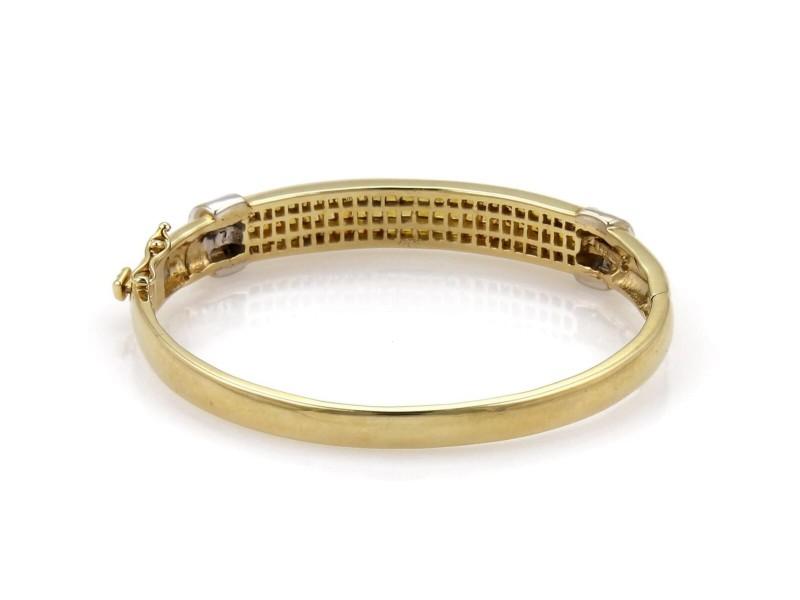 64a2a84cea441 Estate 5.9ct Diamond & Yellow Sapphire 14k Two Tone Gold Bangle Bracelet