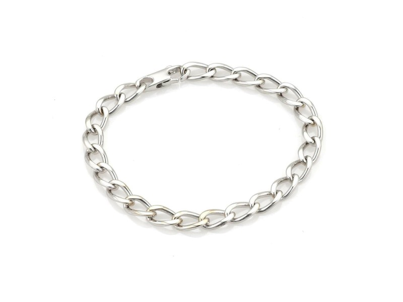 Chanel 18k White Gold 5.5mm Wide Curb Link Chain Bracelet