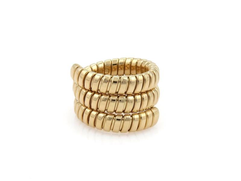 Bvlgari Bulgari Tubogas 18k Yellow Gold Wide Wrap Band Ring Size 7