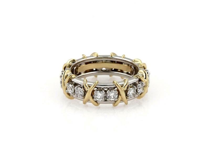 989e0c252 Tiffany & Co. Schlumberger 16 Diamond Platinum 18k Gold X Ring Size ...