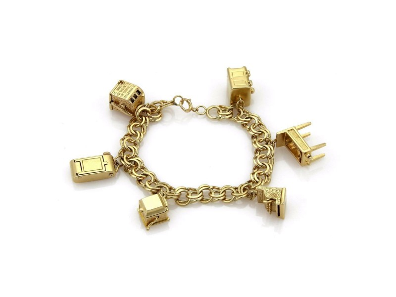 Vintage 14k Yellow Gold 6 Movable Charms Chain Bracelet