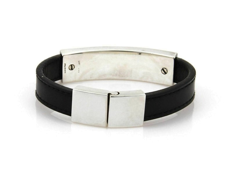 Gucci Sterling Silver Long Bar Black Leather Band Bracelet