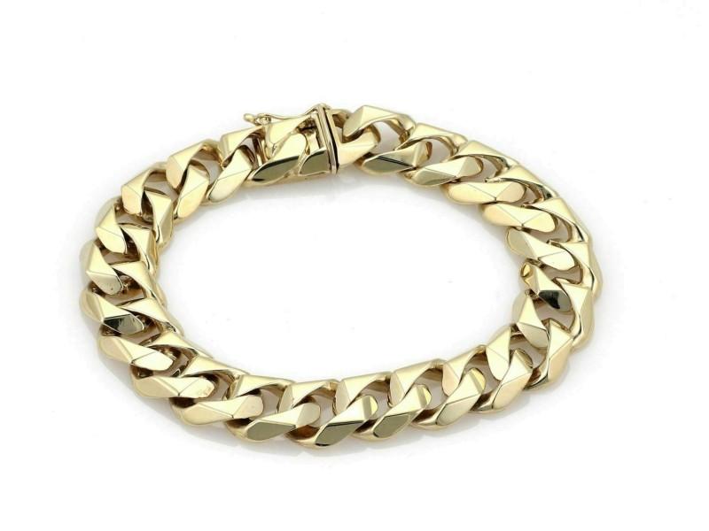 Cuban Chain Link 14k Yellow Gold Bracelet