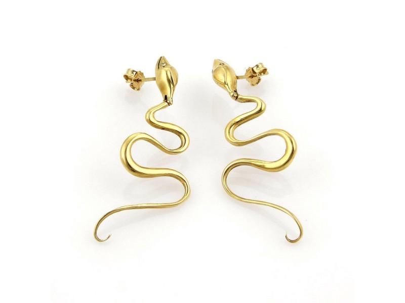 Dangling Snake 18k Yellow Gold Earrings