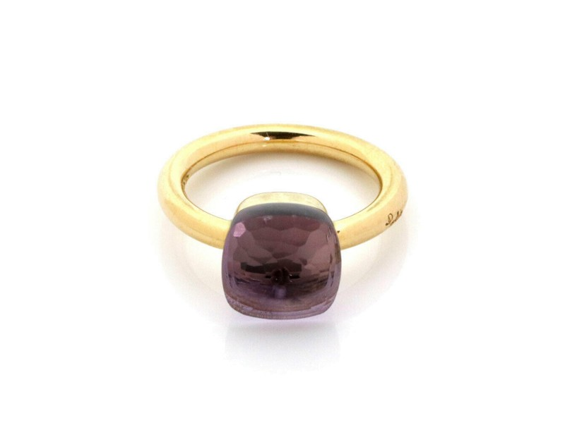 Pomellato Nudo Amethyst 18k Yellow Gold Solitaire Ring Size 7