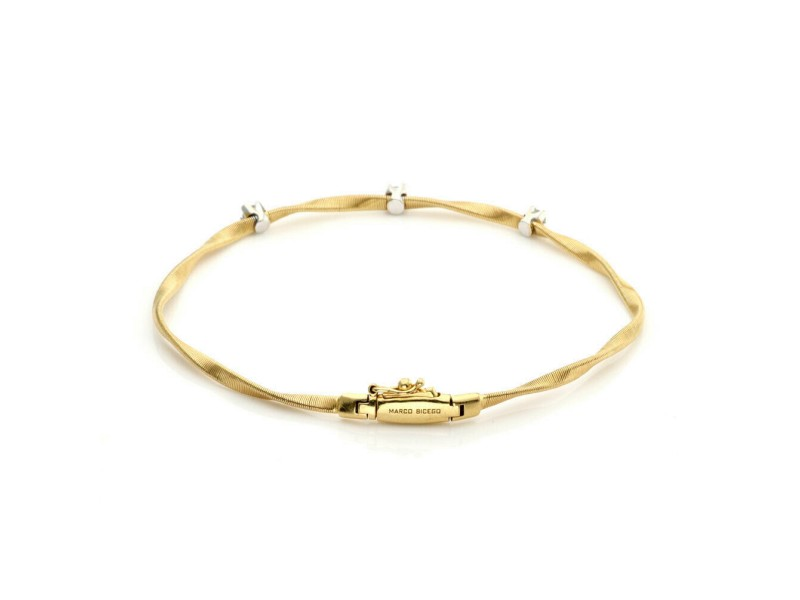Marco Bicego Marrakech Diamond 18k Yellow Gold Twist Style Bracelet