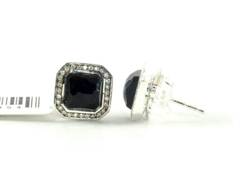 IPPOLITA Sterling Silver Black Onyx Diamond Stud Earrings .925 Stella