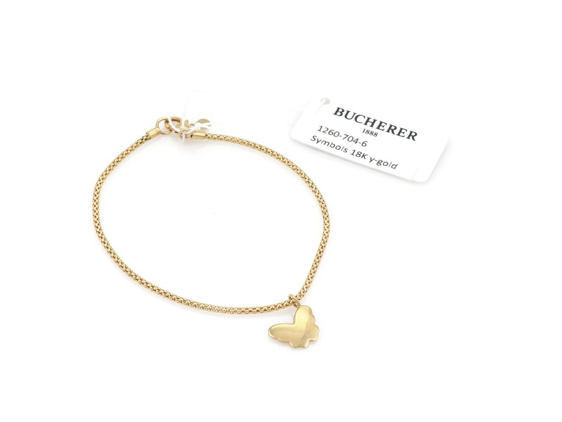 Bucherer Symbols 18k Yellow Gold Butterfly Charm Chain Bracelet