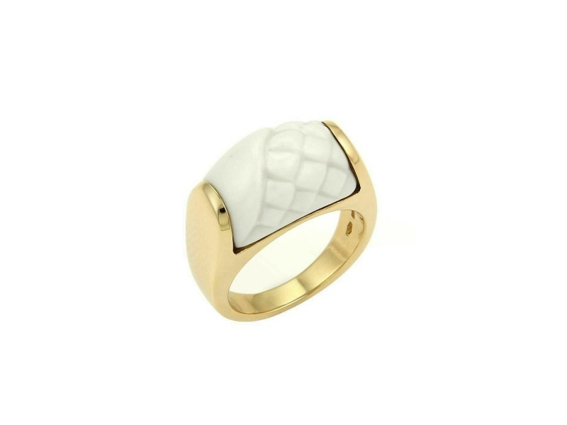 Bvlgari Tronchetto White Ceramic 18k Yellow Gold Ring