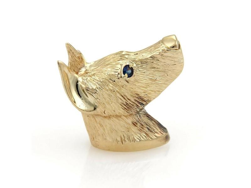 Sapphire Doberman Dog 14k Yellow Gold Pendant/Brooch