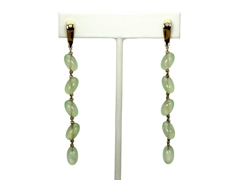 Valente 30.1 Carats Peridot Diamond 18k Pink Gold Beaded Long Dangle Earrings
