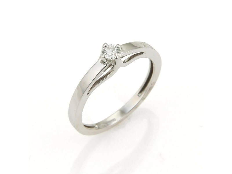 Bliss Damiani Kate Solitaire 0.20ct Diamond 18k White Gold Ring
