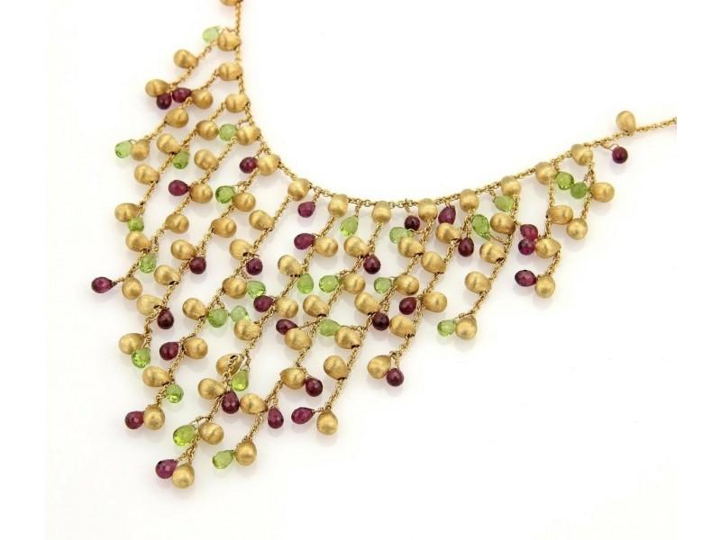 Marco Bicego Paradise Garnet & Peridot 18k Yellow Gold Fringe Necklace