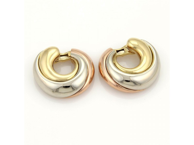 """Cartier 18k Tri-Color Gold Large """"C"""" Hoop Clip On Earrings"""