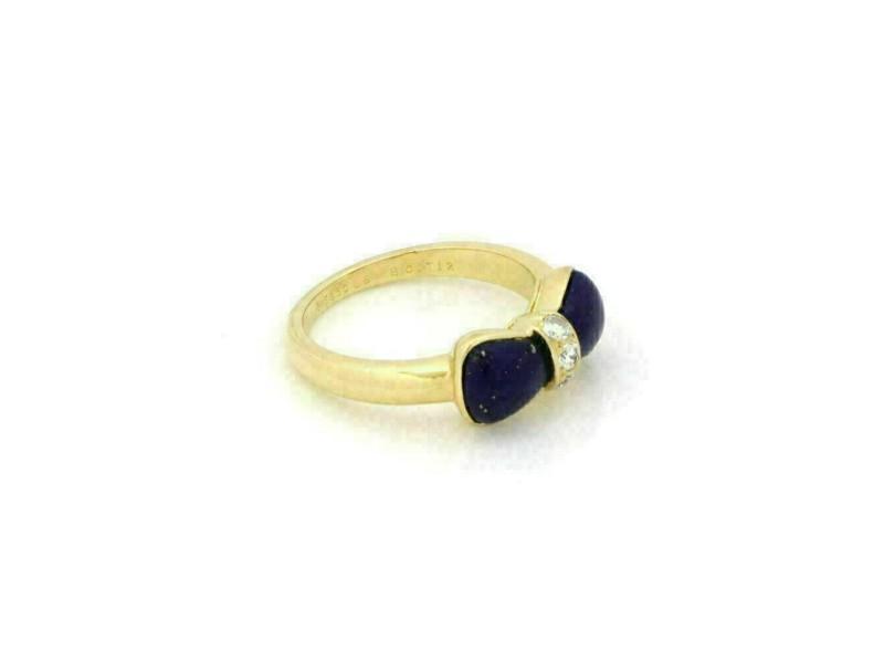 Van Cleef & Arpels Lapis & Diamond 18k Yellow Gold Bow Design Ring