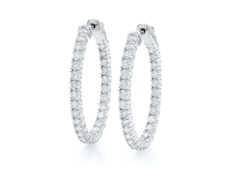 Rachel Koen Stunning Diamond Hoop Earrings 14K White Gold 2.70 Cttw