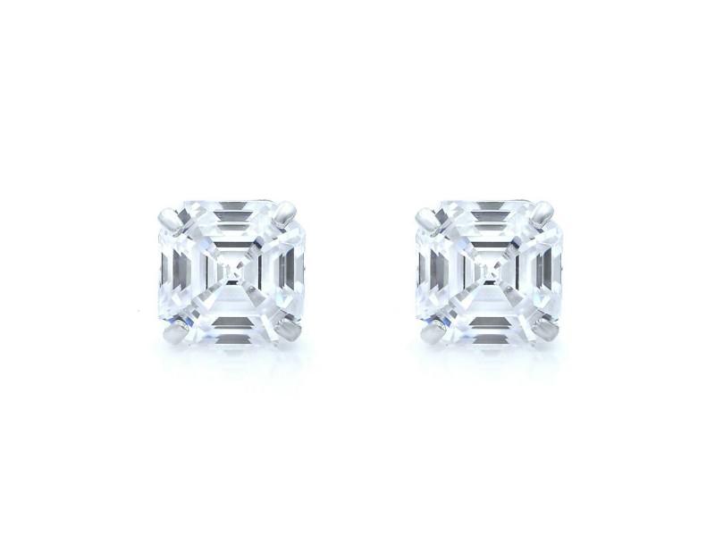 Rachel Koen 14K White Gold Asscher Cut Cubic Zirconia Stud Earrings 7mm