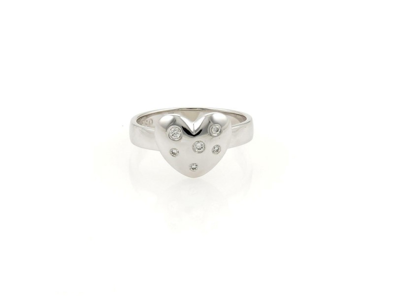Tiffany & Co. Etoile Diamond 18k White Gold Heart Ring Size - 3.5