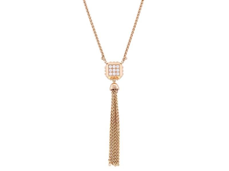 Louis Vuitton Rose Gold Pave Diamond Necklace Pendant 0.05 Cttw
