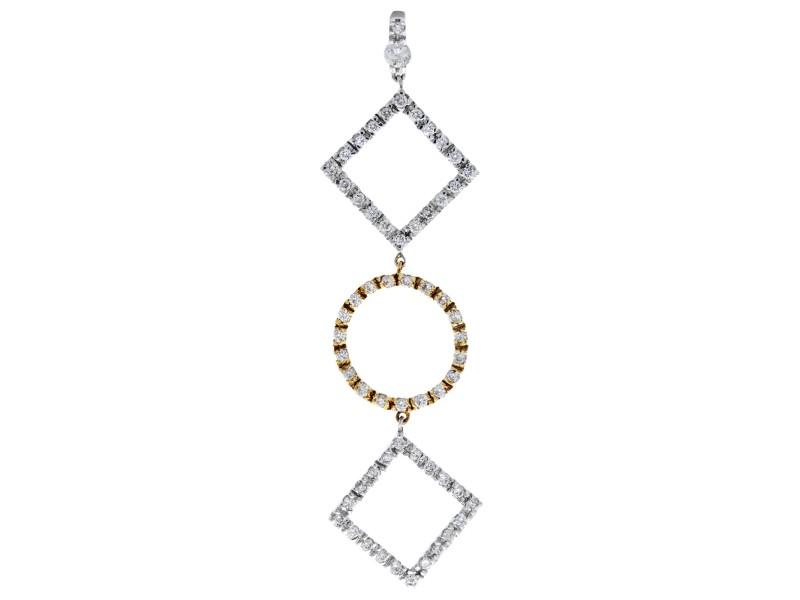 Rachel Koen Diamond Pave Drop Necklace 0.75cttw 18K White Gold
