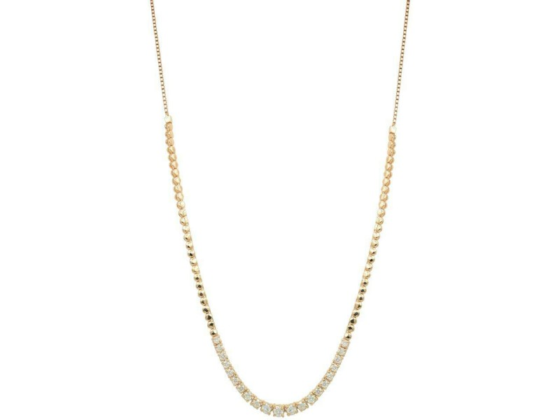 Rose Gold Diamond Prong Bolo Chain Ladies Necklace in 14K Rose Gold 1.40cts