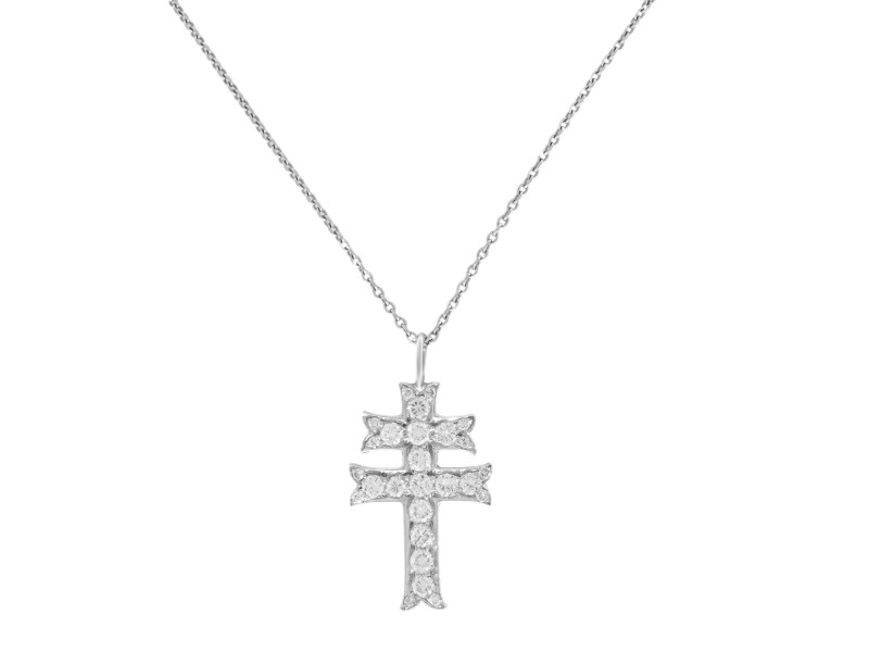 Rachel Koen Platinum Necklace with 0.33cttw Diamond Cross Pendant