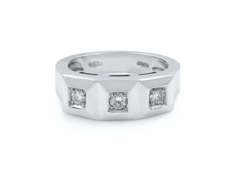 Saya 18K White Gold Diamond Ladies Three Stone Ring Band 0.75 Cttw Size 7.5