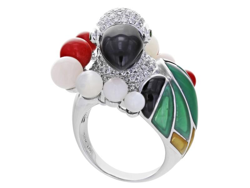 Estate Parrot Bird 18K White Gold Diamond Coral Ring 1.95 Cttw Size 7