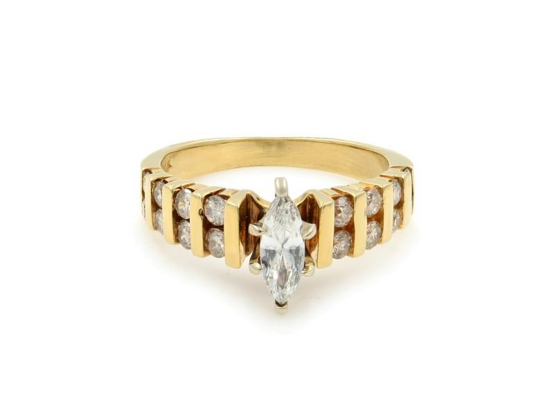 Rachel Koen 14K Yellow Gold Diamond Womens Engagement Ring 0.75Cttw Size 5.5