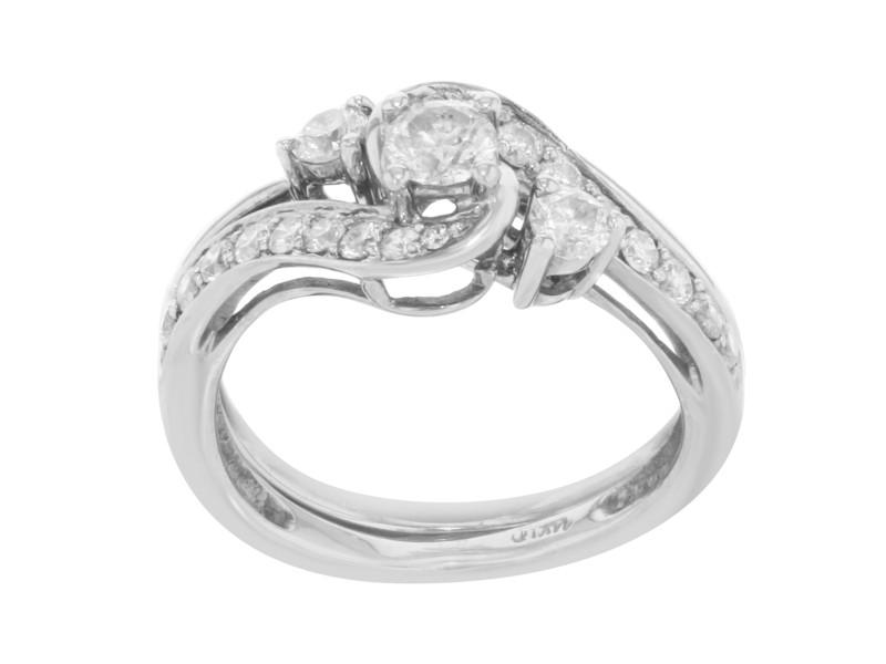 14K White Gold Diamond 2PC Ladies Cocktail Ring 0.60 Cttw