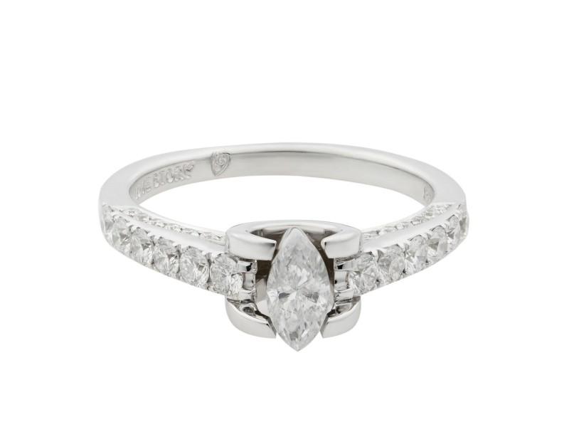 Rachel Koen 14K White Gold Diamond Accented Ladies Engagement Ring 1.05 Cttw