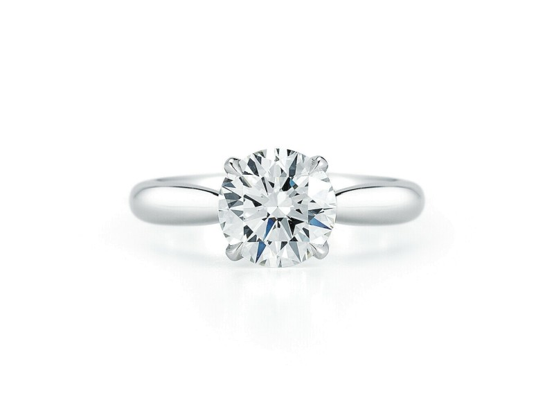 Round Cut Solitaire Tapered Diamond Engagement Ladies Ring in Platinum 1.45cts