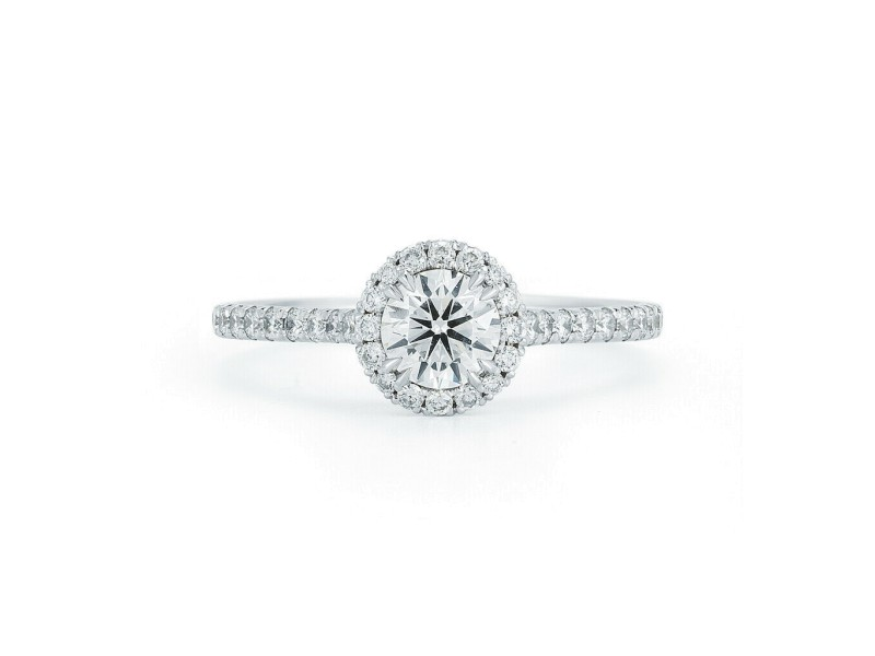 Rachel Koen Round Cut Halo Set Diamond Engagement Ladies Ring in Platinum 1.09ct