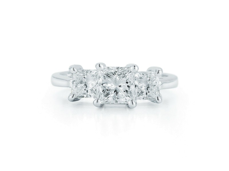 Three Stone Princess Cut Diamond Engagement Platinum Ring 1.37