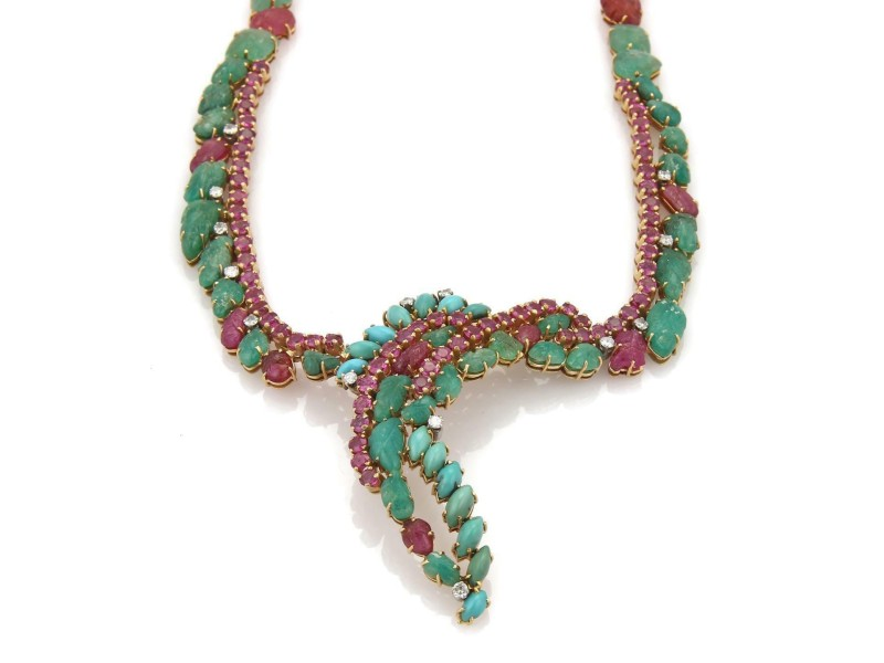 Vintage 2.45ct Diamond Emerald & Ruby 18k Yellow Gold Fancy Curved Necklace