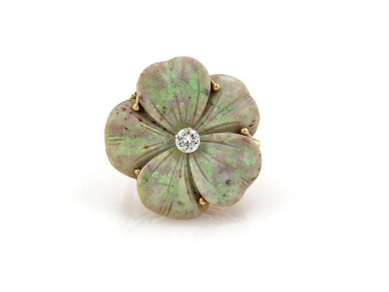 Vintage Opal & Diamond Large Flower 14k Yellow Gold Ring Size - 7