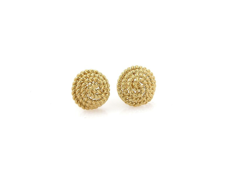 Tiffany & Co. 18k Yellow Gold Spiral Wire Wrap Dome Stud Earrings