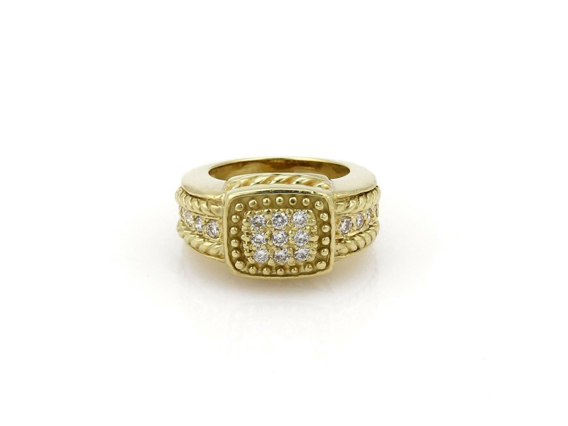 Judith Ripka Diamond 18k Yellow Gold Fancy Bead Design Ring Size 5.5
