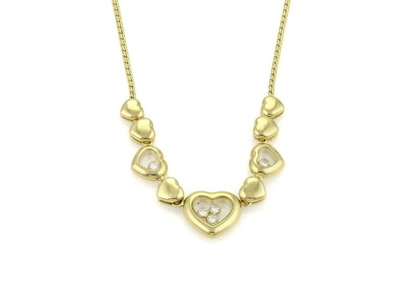 Chopard Happy Diamond 18k Yellow Gold Multi Hearts Charm Necklace