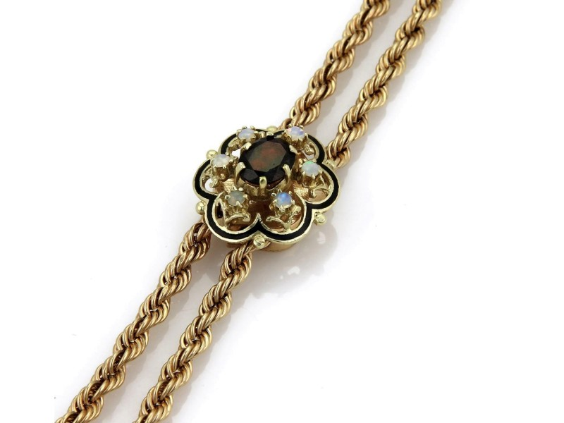Vintage 3.6ct Garnet & Opal 14k Yellow Gold Floral Pendant Tassel Necklace 21.5""
